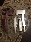 Vintage Kabar Fixed Blade Knife And Hatchet Combo Set With Leather Case.