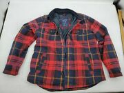 American Eagle Outfitters Xl Quilted Plaid Flannel Jacket Corduroy Collar Thick