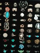100 X Costume Jewellery Rings, Various Styles And Sizes And Display Case