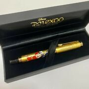Rare D23 Expo Japan 2013 Limited Ballpoint Pen Mickey Mouse Gold Foil Sorcerer