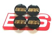 4 Real Bbs Black With Gold 3d Bbs Logo 56mm Center Caps 56.24.012 56.24.002g