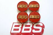 4 Real Bbs Red Gold 3d Logo 3 Tab 70mm Center Caps 56.24.099 Or 56.24.073