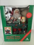"""Vtg 1994 Holiday Creations Animated Lighted Musical Painting Santa 18"""" In Box"""