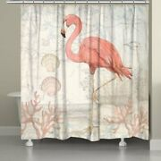 Laural Home Flamingo Shower Curtain Brown, Pink 71 X 74