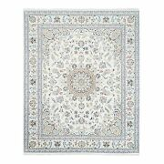 8and039x10and0391 Medallion Design Nain Wool And Silk 250 Kpsi Hand Knotted Rug R62722