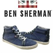 Ben Sherman Percy Menand039s Sz 11.5 Denim Blue Canvas High Top Sneakers Trainers