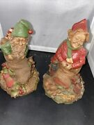 Lot Of 2 Tom Clark Signed Christmas Gnomes Yule And Noel 1984 Ed. 53 And 58
