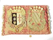 2 X19thc Earl + Countess Bullion Embroidered Armorial Arms Heraldic And Pillow A/f