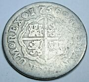 1756 Spanish Silver 1 Reales Antique 1700and039s Colonial Cross Pirate Treasure Coin