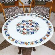 Vintage Marble Inlay Center Conference Table Top Multi Stone Marquetry Art Decor