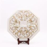 Custom End Table White Marble Inlay Mop Floral Living Room Antique Furniture Art