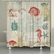 Laural Home Coral Maritime Shower Curtain Brown