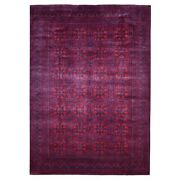 8'3x11'6 100 Wool Deep Saturated Red Afghan Khamyab Hand Knotted Rug R67786