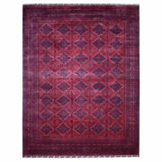 9and0396x12and0393 Deep Red Geometric Design Afghan Khamyab Wool Handknotted Rug R67789