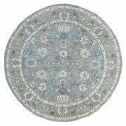 10and0391x10and0391 Round Extra Soft Wool Gray Fine Peshawar Hand Knotted Rug R67792