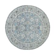 6and0391x6and0391 All New Hand Knotted Natural Wool Gray Fine Peshawar Round Rug R67794