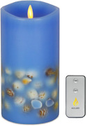 Aglary Seashell Pillar Candle 3.5andrdquox7andrdquo Blue Battery Operated Candles With R