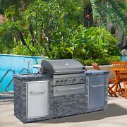Deluxe Stacked Stone 4 Burner Grill Island Grill Cover Included
