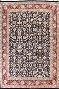 Vegetable Dye Wool/ Silk Ardakan Oriental Area Rug Hand-knotted Navy Blue 9and039x12and039