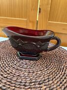 Vintage Avon Footed Serving Gravy Sauce Boat Cape Cod Ruby Red Glass