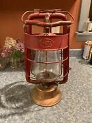 Dietz King Fire Dept. Lantern With Rare Copper Bottom And Fitzall Globe.