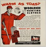 1955 Print Ad Woolrich 100 Wool Hunting Clothes Woolen Mills Woolrich,pa