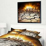 Designart 'city With Effect Of Climate Change' Landscape Small
