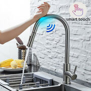 Kitchen Sink Touch Sensor Taps Smart Brushed Nickel 360° Pull Out Mixer Faucet