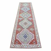 2'8x10'5 Soft Organic Wool Red Anatolian Design Hand Knotted Runner Rug R67892