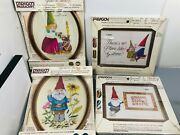 Vintage Paragon Needlecraft Sewing Kits Gnomes In Stitchery Lot Of 4 New