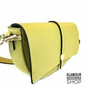 Woman Shoulder Bag Genuine Leather Retro Flap Made In Italy Yellow Ice Pink