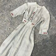 Fine Antique Edwardian Heavy Flax Linen Dress Gown Red Contrast Buttons 1900s