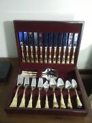 Royal Albert Old Country Roses 65 Piece Flatware Set With Wood Box Estate Find