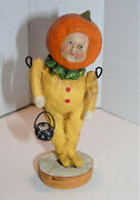 Debbee Thibault Halloween Pumpkin Head Trick Or Treating Kid Signed And Dated 2000