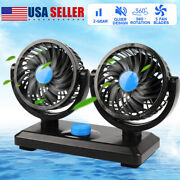 New 360 Dual Head Car Fan Degree Rotation Variable Speed 12v Auto Air Cooling Us