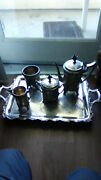 Andnbspantique Taunton Silver Plate Co Tea Set 0f 4 Items And Large 25andrsquoandrsquo Trayandnbsp