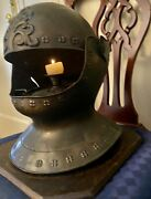 Medieval Medal Helmet Replica Which Holds A Candle Inside Antique