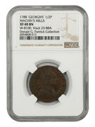 1788 1/2 P And039gerogivsand039 Machins Mills Halfpenny Ngc Xf40 Bn W-8100 Vlack 23-88a