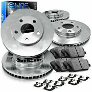 For Ford Lincoln F-150 Mark Lt Front Rear Blank Brake Rotors+ceramic Pads