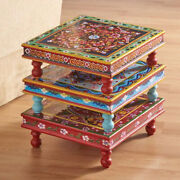 Hand Painted Stacking Table No Two Are Alike. 15 Square 5andfrac12 High
