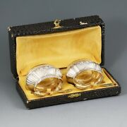 Antique French Silver Vermeil Open Salt Cellars Spoons H/blown Glass Fitted Box