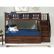 Columbia Staircase Bunk Bed Full Over Full With Twin Sized Walnut Full