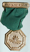 1930's Philippines Usa Antique Vintage Boy Scouts Merit Medal Ribbon Coin I90862