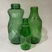 Set Of 3 Vintage Green Glass Jars Bottles Grouping - Anchor Hocking Lady Betty