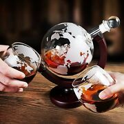 Decanter Globe And 2 Whiskey Glasses Lead Free Exquisite Wood Stand For Gift Home