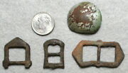 3 Small Brass Revolutionary Period Buckles And 1 Button Found In Central Va