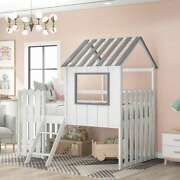 Cute Loft House Bed With Rustic Fence-shaped Guardrail Roof Window Kids Bedroom