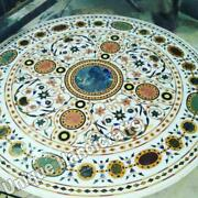 Marble White Dining Collectible Table Top Multi Stone Mosaic Stone Inlaid Dandeacutecor