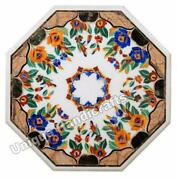Live Edge Marble Inlay Table Marquetry Floral Custom Table Corridor Furniture