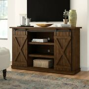 Rustic Tv Stand Console Up To 60 Barn Door Wood Farmhouse - Espresso